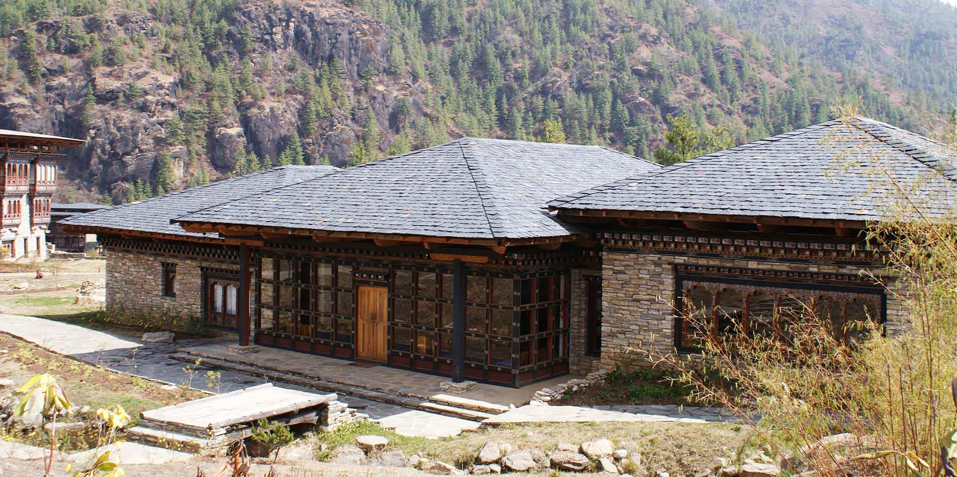 Asia Bhutan stone buildings high up in the Himalaya mountains - luxury vacation destinations