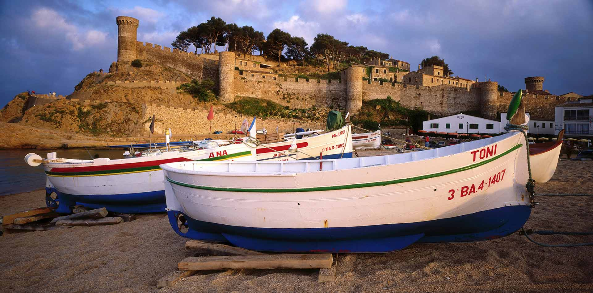 Walled Town with Boats in Foreground, Costa Brava, Spain