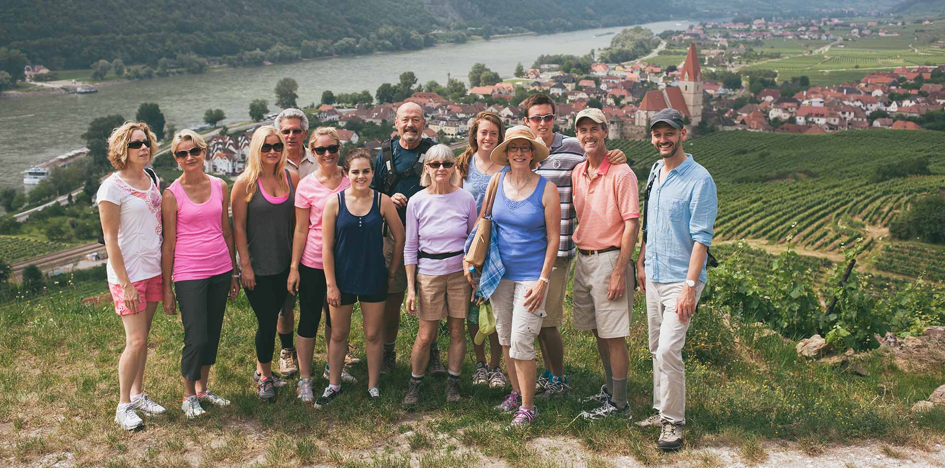 Group on a Hill Overlooking a Small Village in Croatia