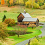 North America United States Vermont Woodstock scenic countryside wood barn colorful fall trees - luxury vacation destinations