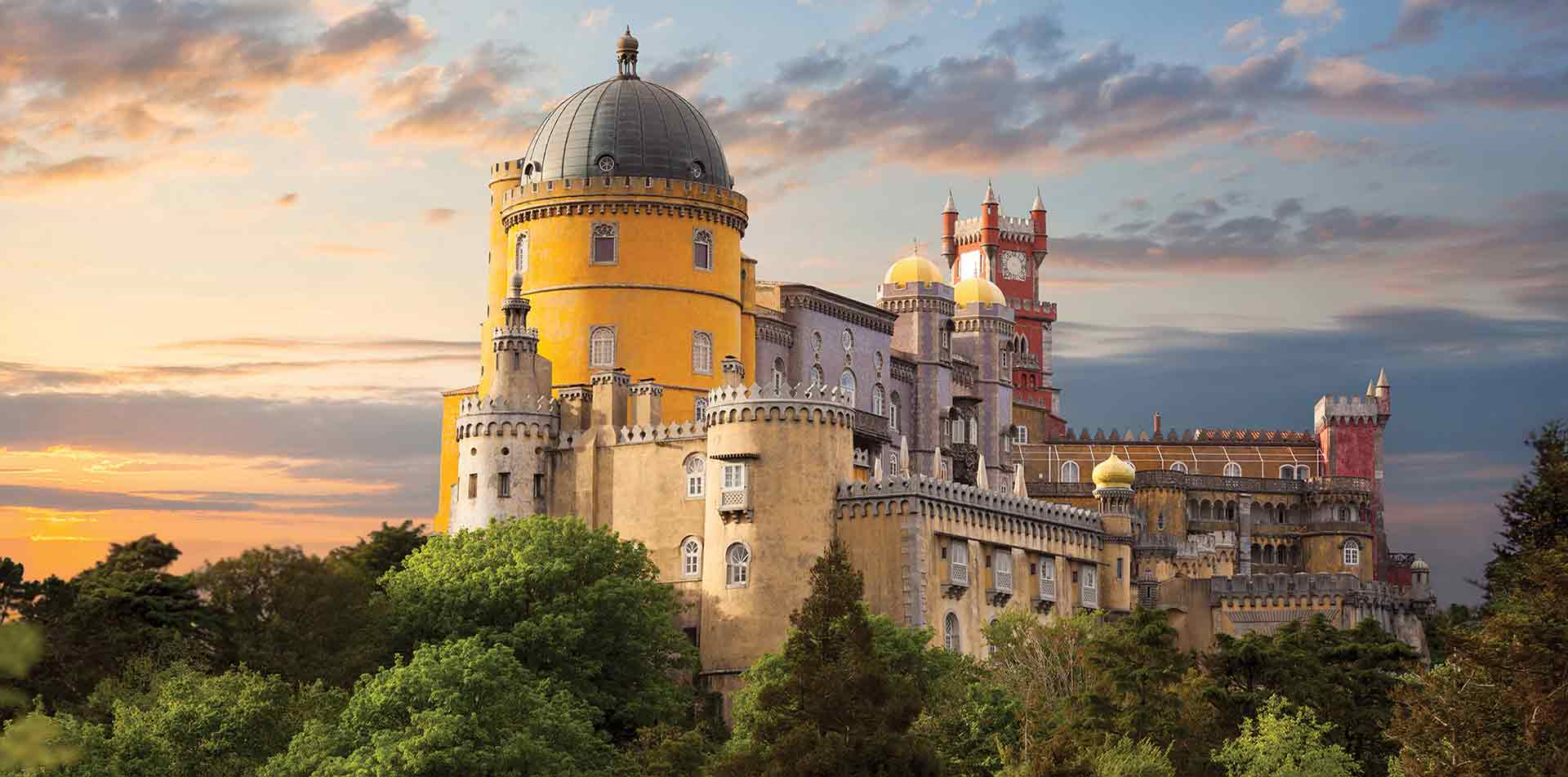 Europe Portugal Sintra-Cascais Natural Park colorful Romanticism style National Palace of Pena - luxury vacation destinations