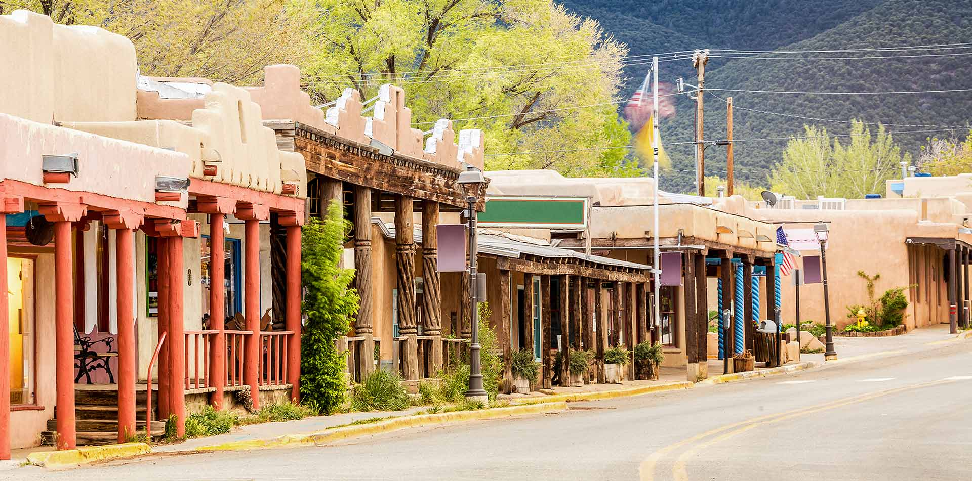 Street and Buildings in Taos, New Mexico
