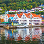 Europe Norway Bergen Bryggen Harbour colorful buildings at UNESCO World Heritage site - luxury vacation destinations