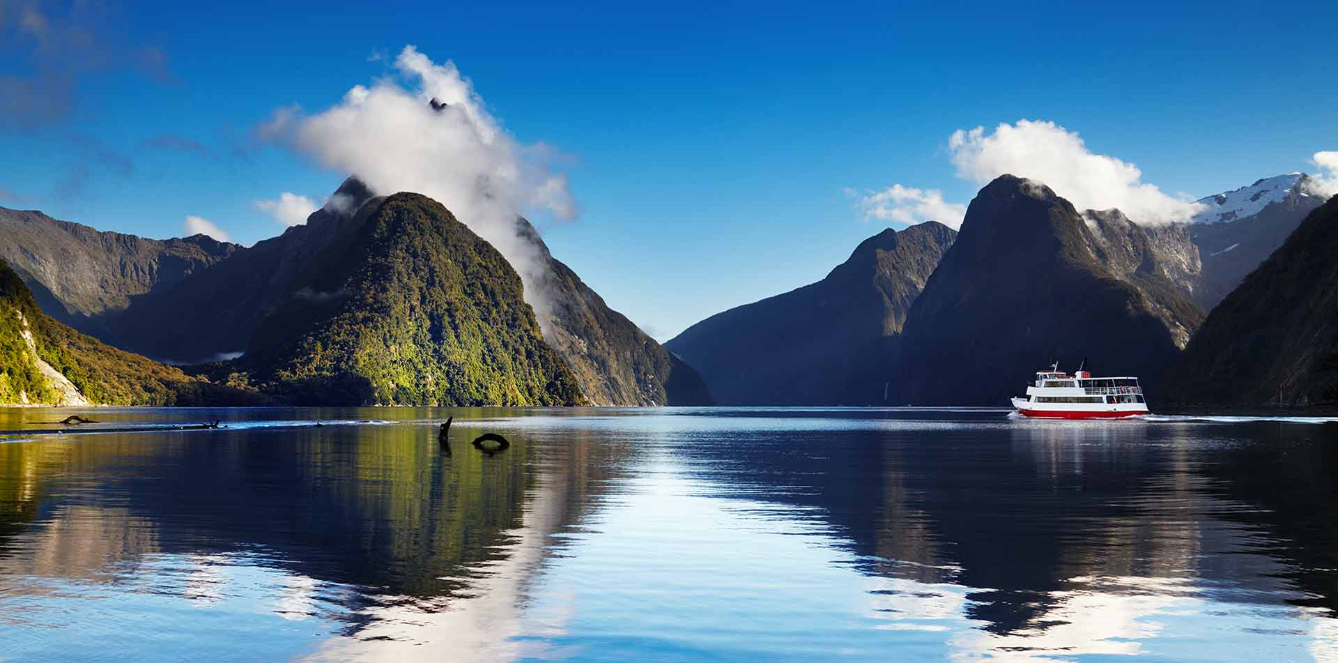 Oceania New Zealand South Island boat on peaceful waters of Milford Sound - luxury vacation destinations