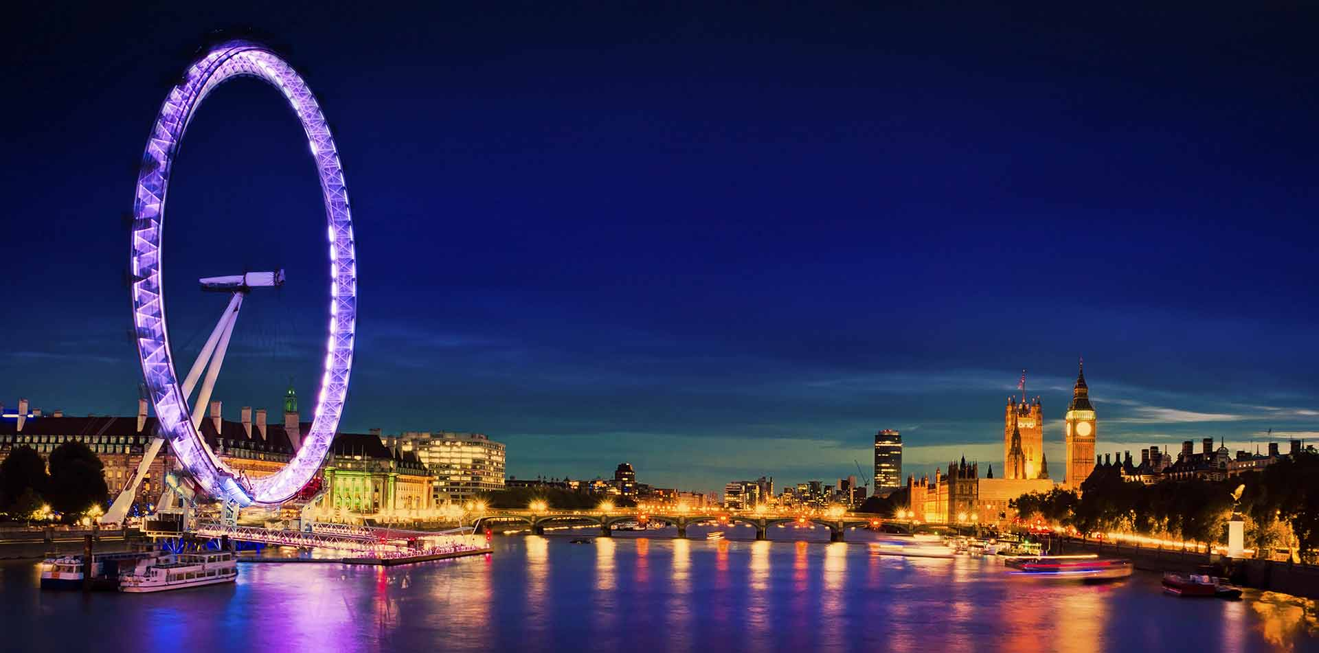 Europe United Kingdom England London Eye bright lights River Thames city skyline at night - luxury vacation destinations