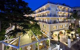 Europe Italy Amalfi Coast Naples Sorrento Grand Hotel La Favorita exterior at night - luxury vacation destinations