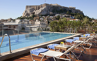 Europe Greece Athens Electra Palace rooftop pool with view of ancient Acropolis - luxury vacation destinations