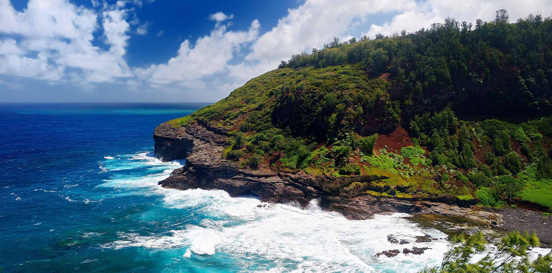 North America United States Hawaii scenic Kauai Kilauea lighthouse bay blue water lush cliff - luxury vacation destinations
