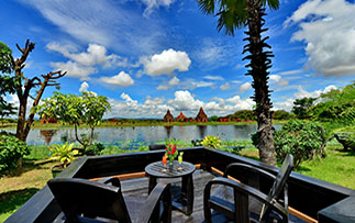 Asia Myanmar Bagan Aureum Palace Resort tropical relaxing terrace scenic lake ancient temples - luxury vacation destinations