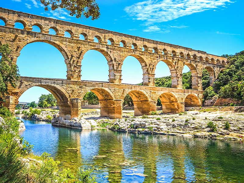Europe France Pont du Gard ancient roman aqueduct bridge architecture - luxury vacation destinations