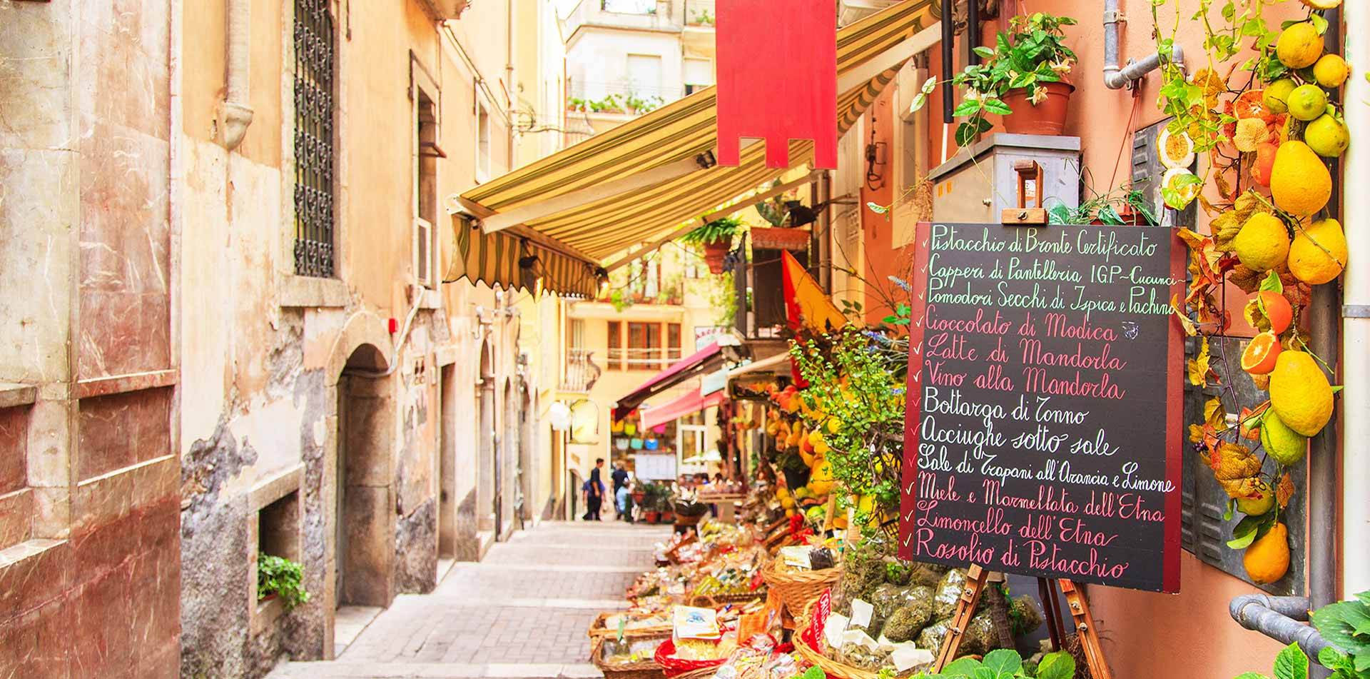 Europe Italy Sicily Taormina local restaurant menu in old town alleyway - luxury vacation destinations