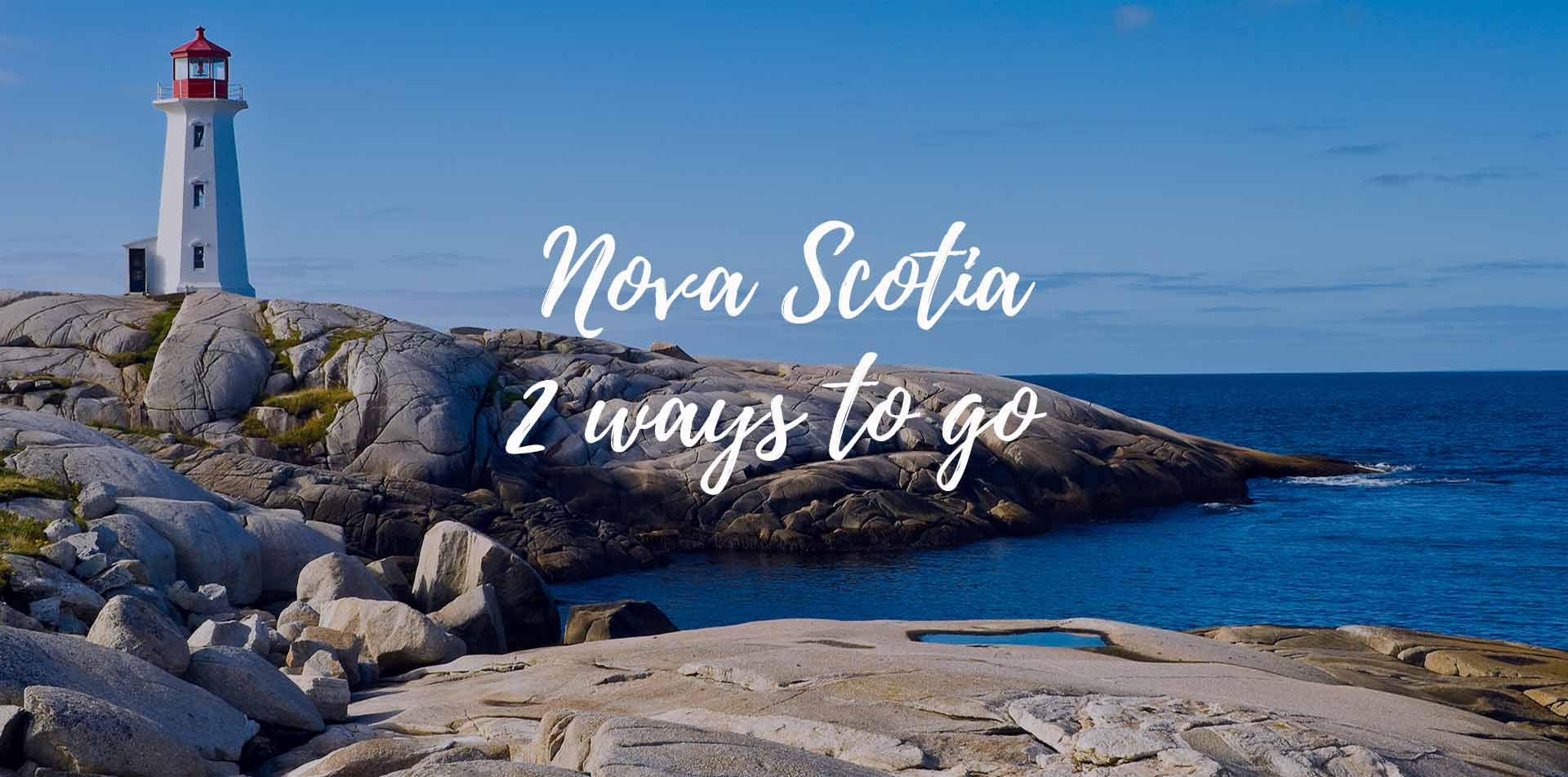 North America Canada Nova Scotia 2 ways to go scenic Peggy's Cove lighthouse on rocky shore - luxury vacation destinations