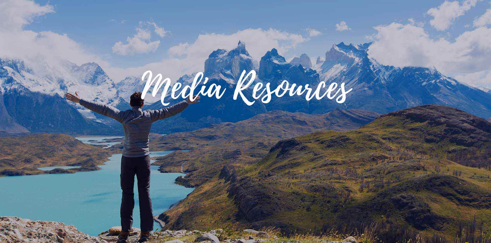 Chile Patagonia traveler at scenic Torres del Paine National Park media resources- luxury vacation destinations