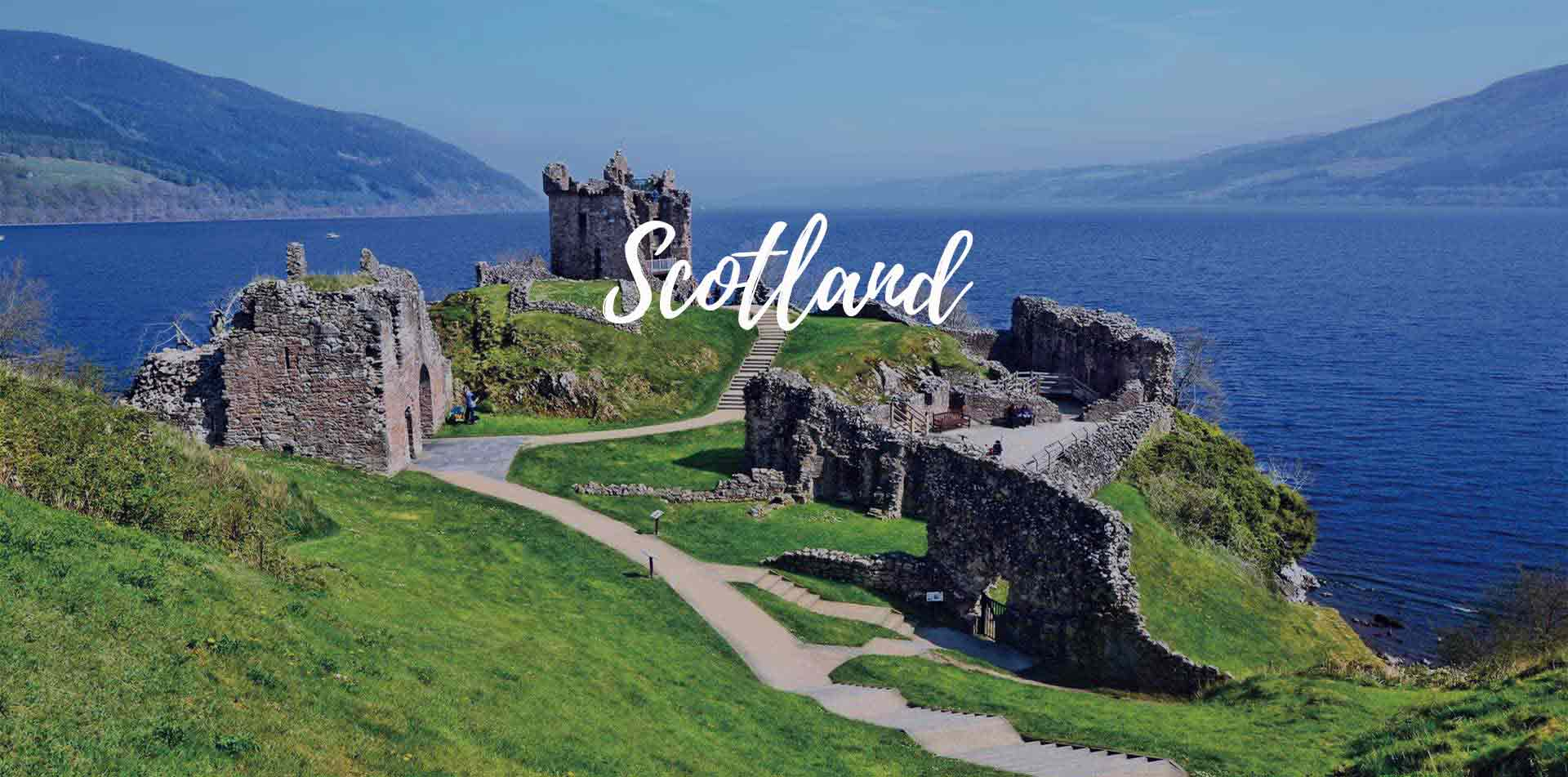 Europe United Kingdom Scotland Urqhart Castle ancient ruins scenic Loch Ness green countryside - luxury vacation destinations