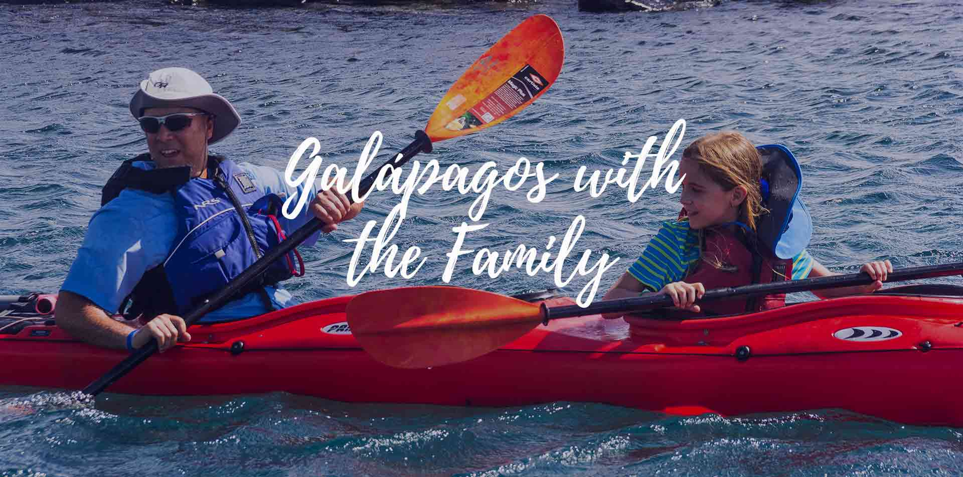 South America Ecuador father and daughter kayaking Galapagos Islands with the family - luxury vacation destinations
