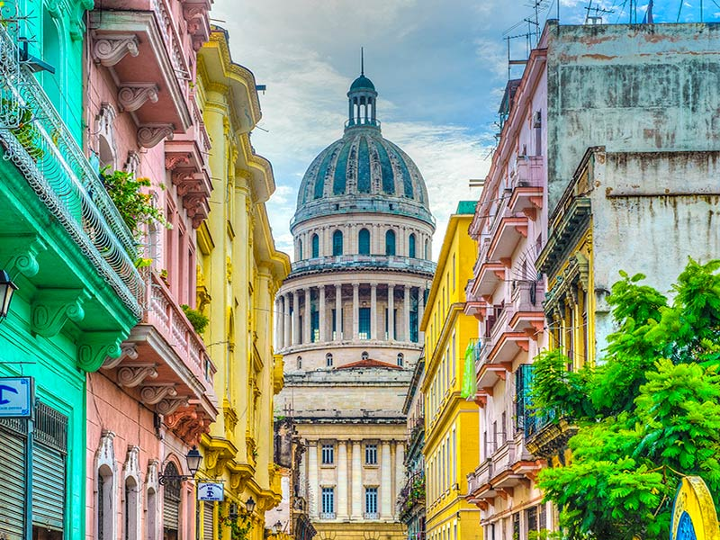 Capital and Streets in Havana, Cuba