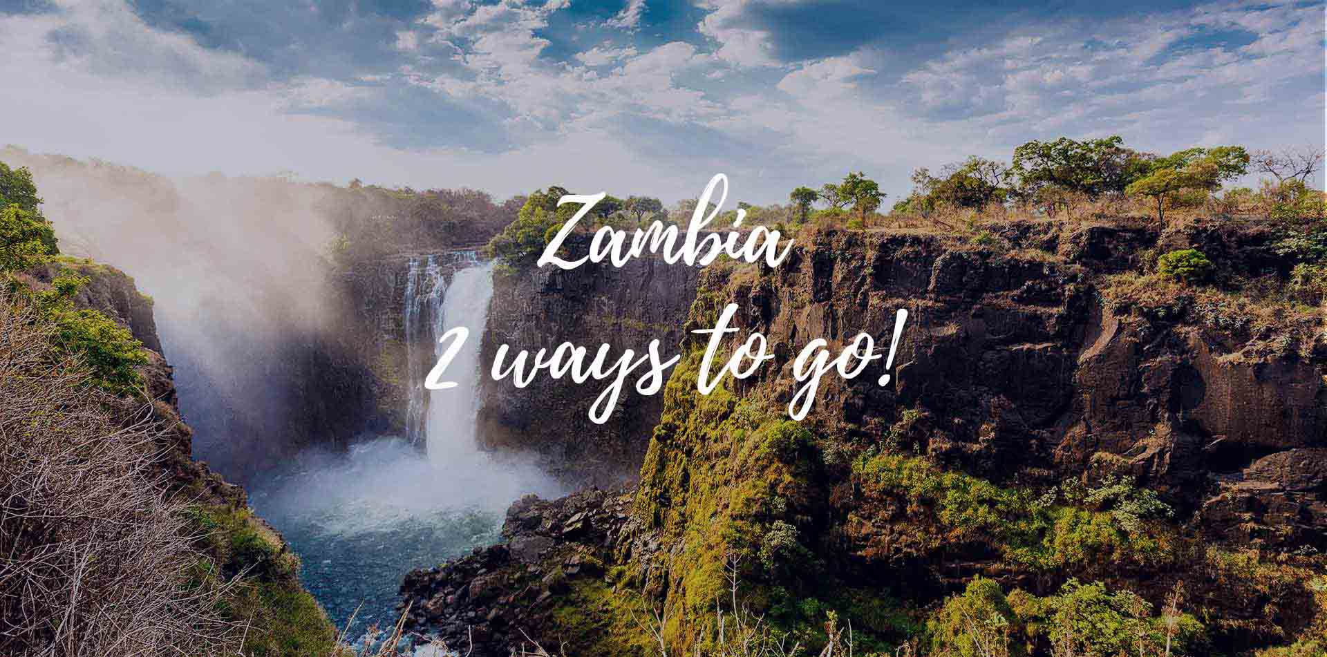 Africa Zambia natural secluded waterfall on a nature trail 2 ways to go - luxury vacation destinations