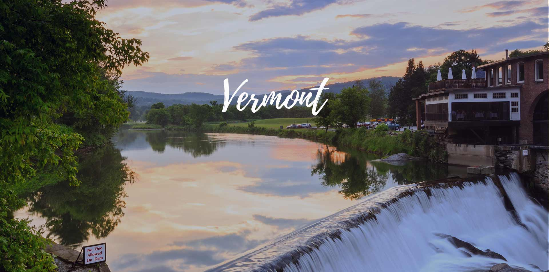 North America United States Vermont Ottaquechee River waterfall at Simon Pearce Restaurant - luxury vacation destinations