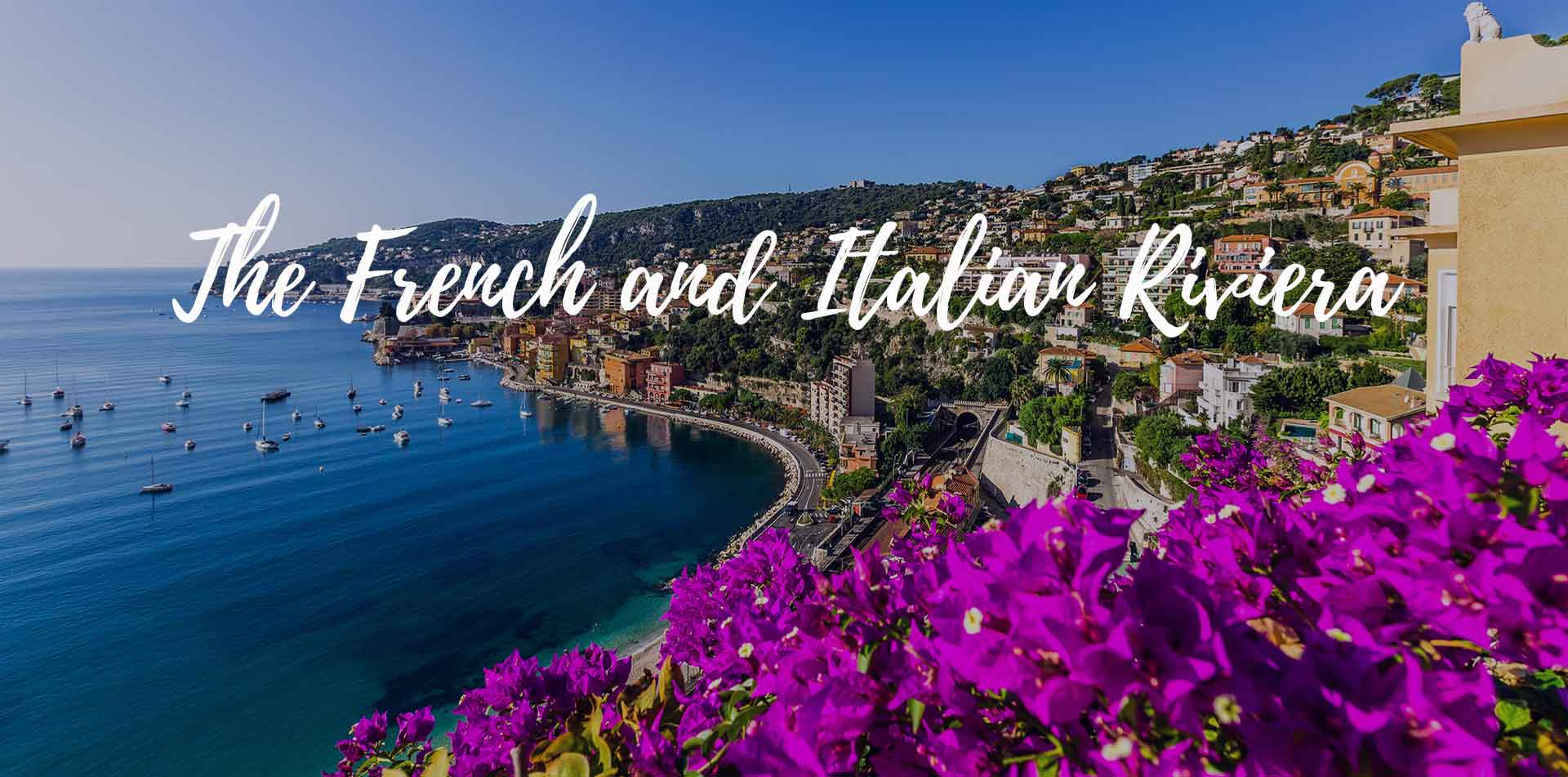 Europe The French and Italian Riviera ocean coastline from hillside viewpoint - luxury vacation destinations