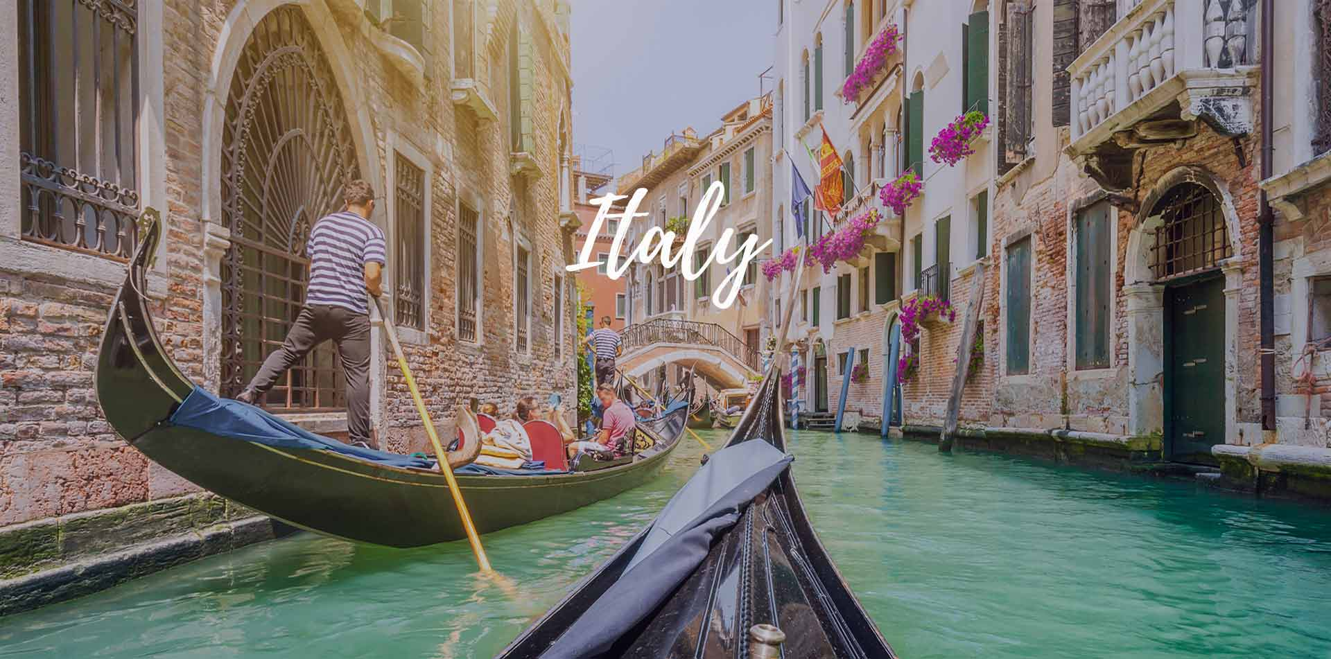 Europe Italy Venice romantic gondola ride beautiful aqua canal old buildings colorful flowers - luxury vacation destinations