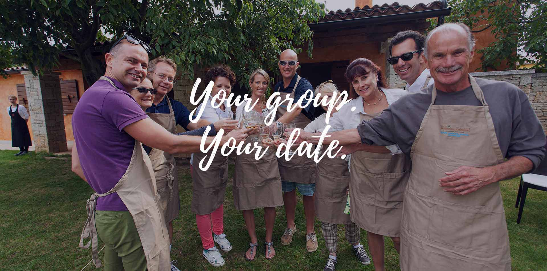 Europe Croatia Istria Vodnjan Chiavalon happy group smiling toasting wine your group your date - luxury vacation destinations