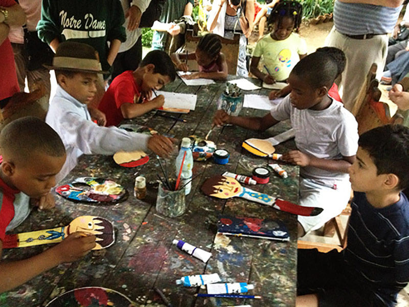 Students Painting at School, Cuba