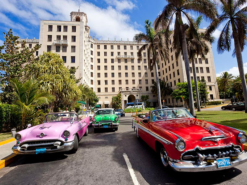 Cars in front of Hotel Nacional Havana, Cuba