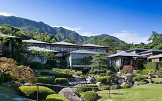 Asia Japan Hiroshima Sekitei hotel exterior view from gardens - luxury vacation destinations