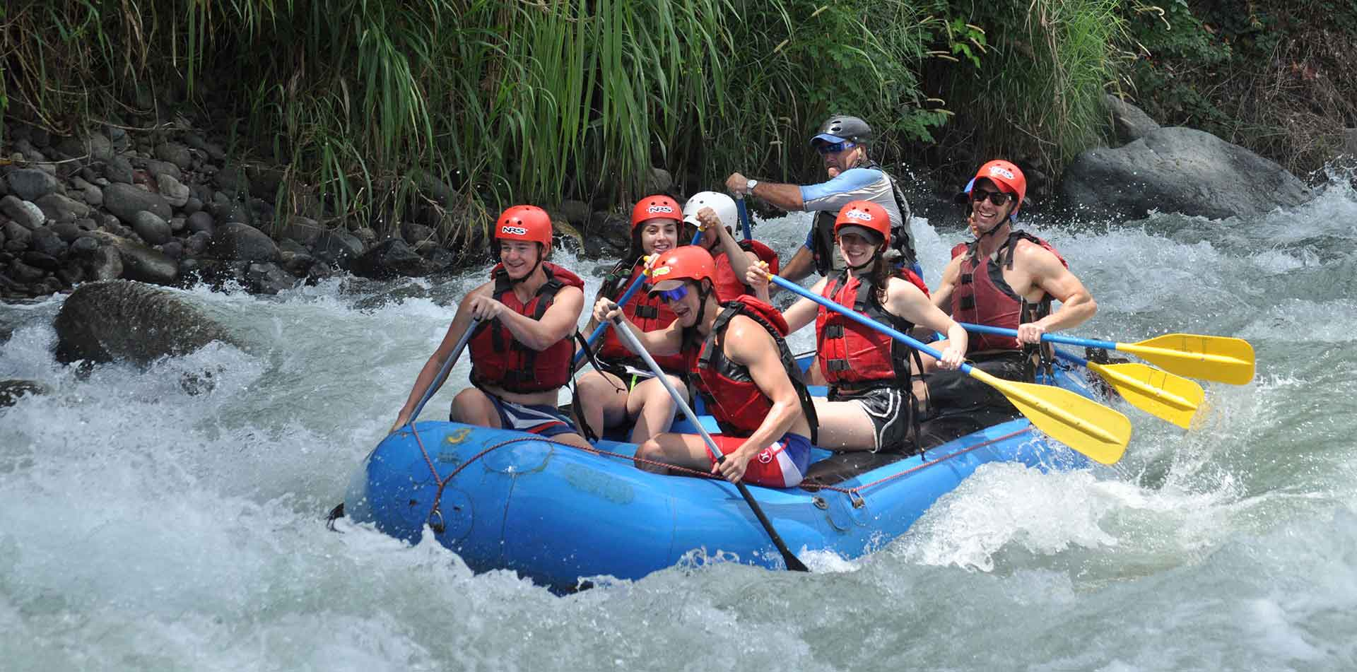 Group white water rafting in Costa Rica