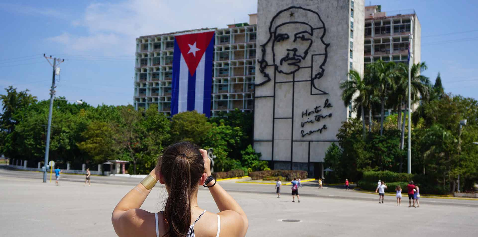North America Caribbean Cuba Havana Plaza de la Revolucion Che Guevara mural street art flag - luxury vacation destinations