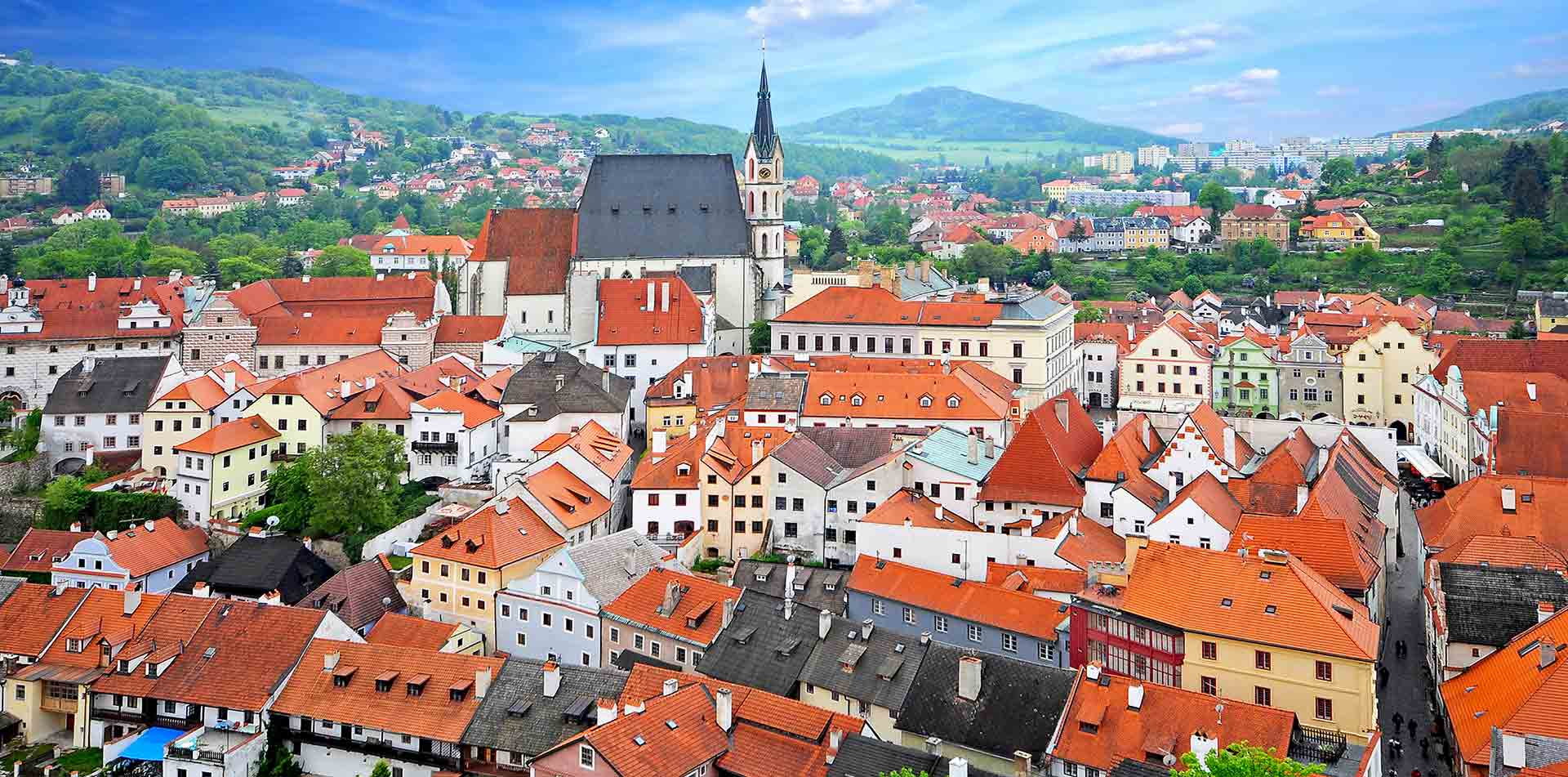 Europe Czech Republic Cesky Krumlov city skyline with mountains - luxury vacation destinations