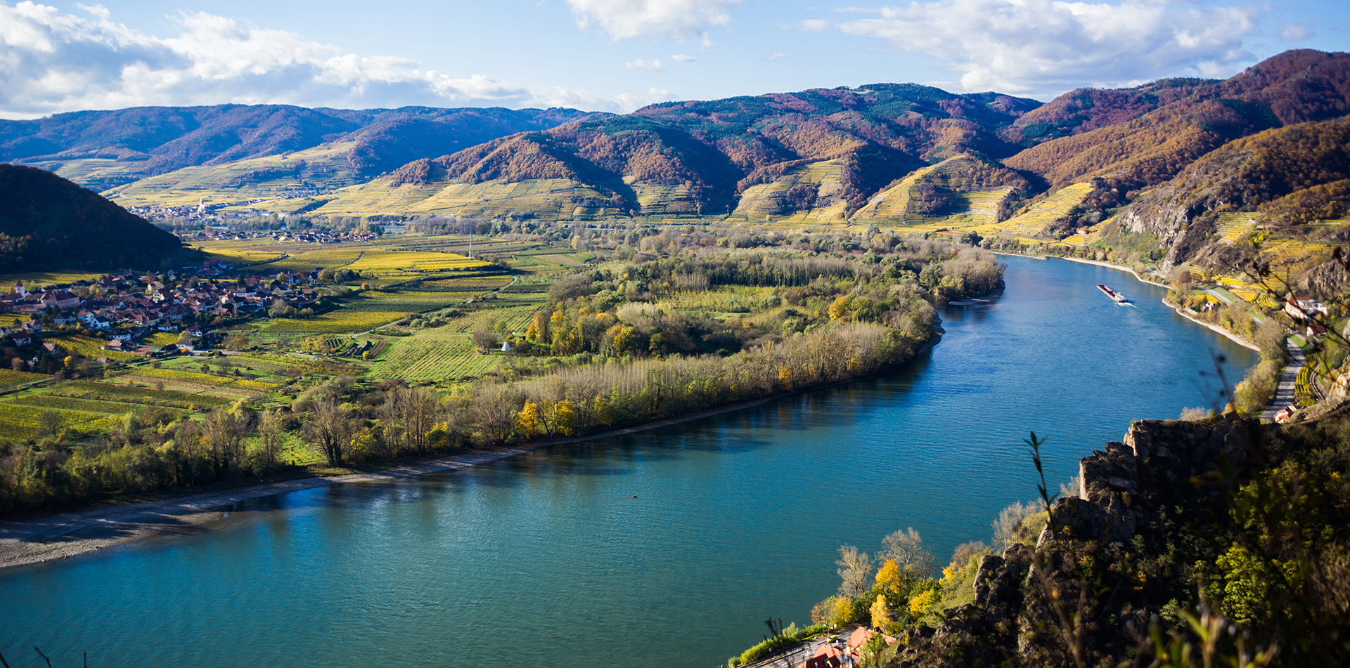 Europe Austria aerial view of Wachau Valley on the Danube River - luxury vacation destinations