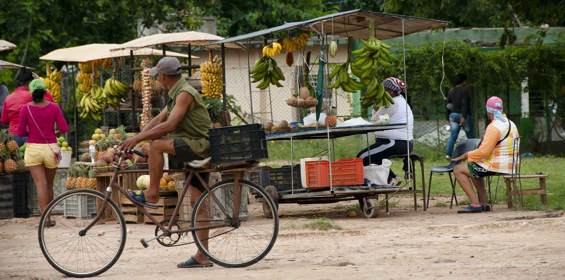 North America Caribbean Cuba local street market produce natural organic bike cycling - luxury vacation destinations