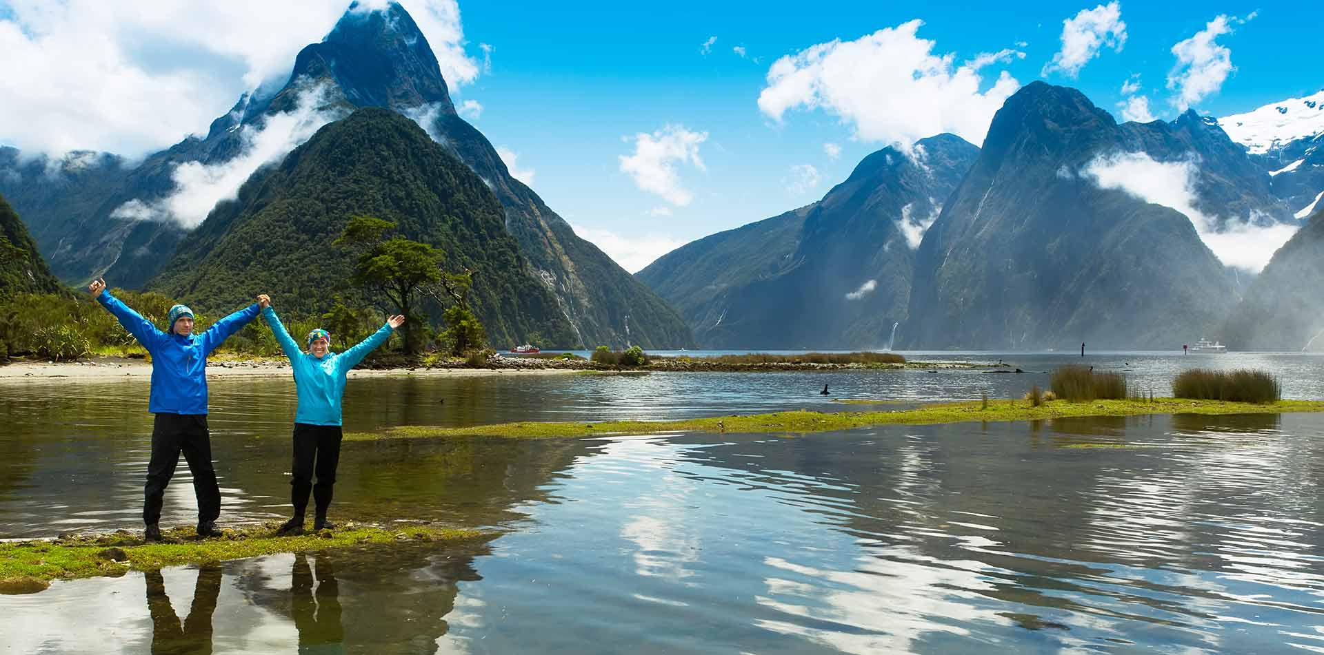 Couple Standing in Front of Mountains, New Zealand