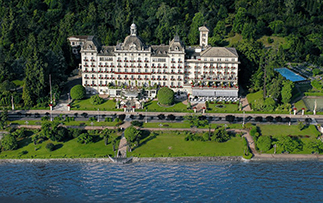 Europe Italy Stressa Grand Hotel Borromees Exterior beautiful garden view lakefront -luxury vacation destinations