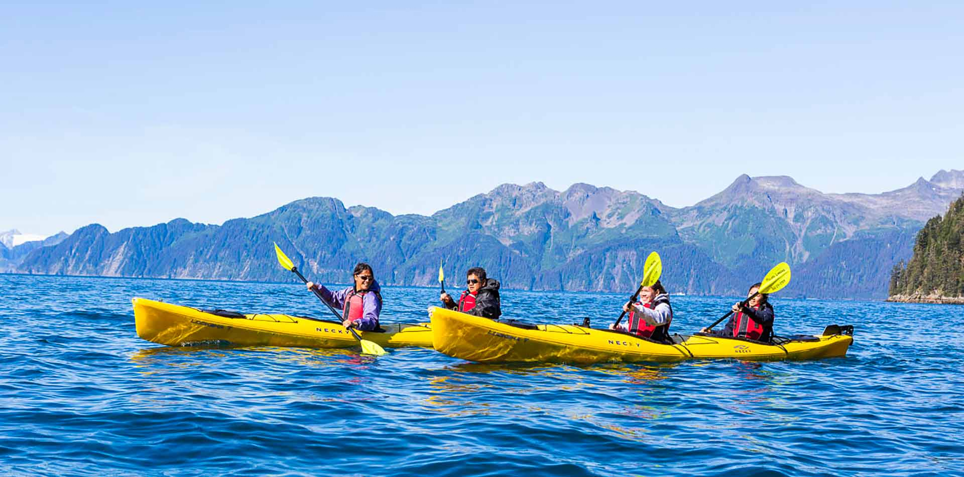 Family Kayaking in Humpy Cove, Alaska