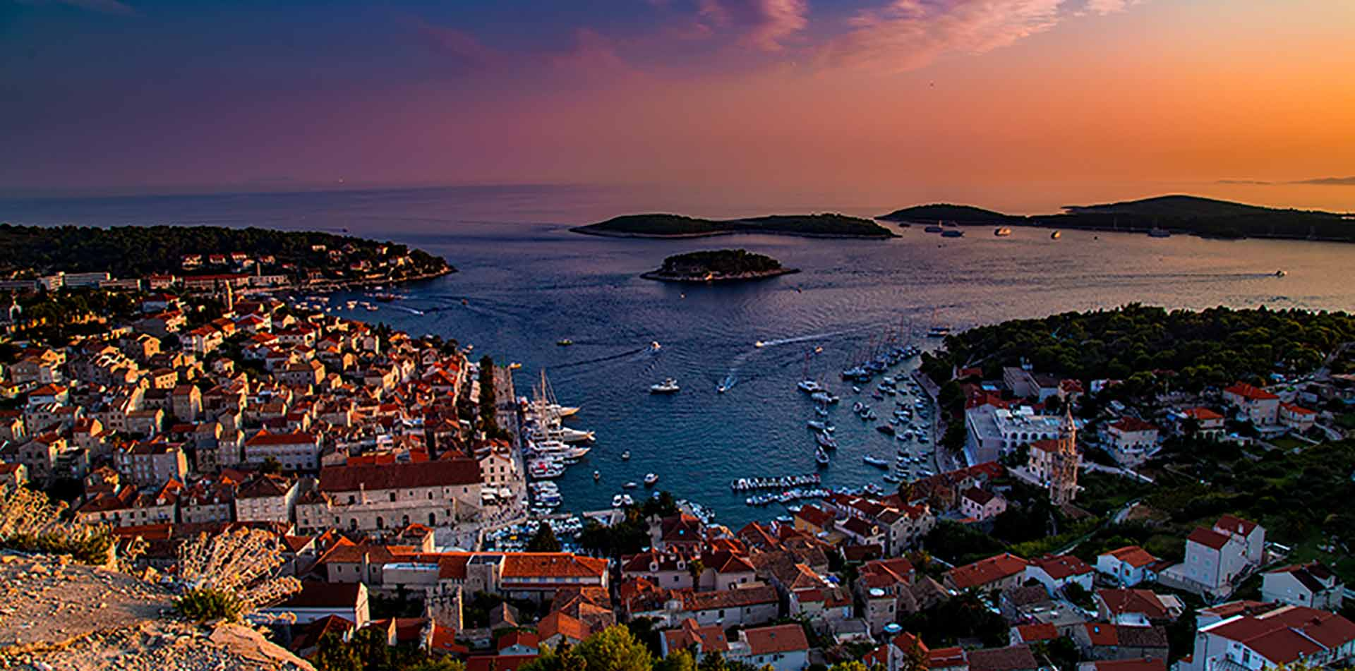 Hvar Harbor and City at Sunset, Croatia