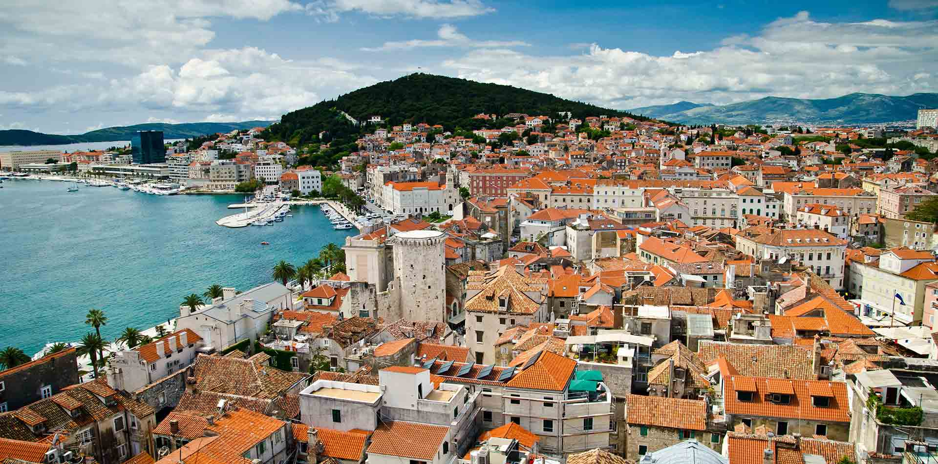Europe Croatia Split Marjan Hill scenic historic town red tile roofs sparkling Adriatic Coast - luxury vacation destinations
