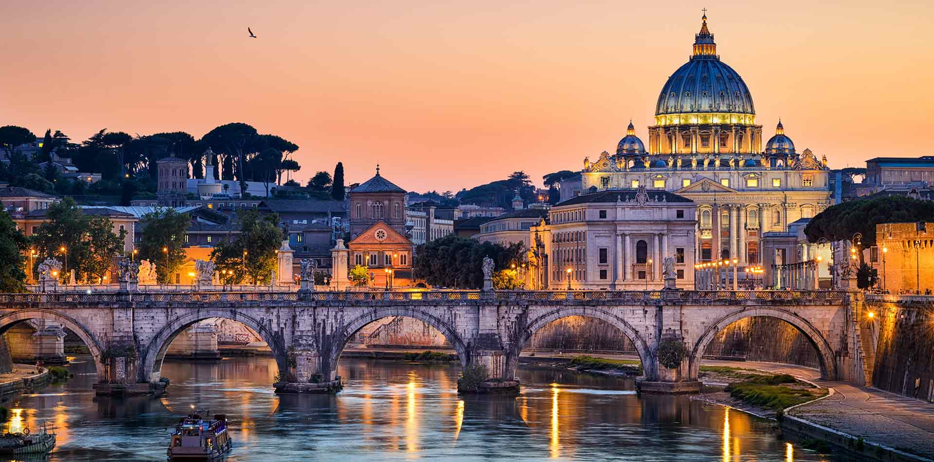 Europe Italy Rome colorful sunset scenic Tiber River Vatican historic St. Peter's Basilica - luxury vacation destination