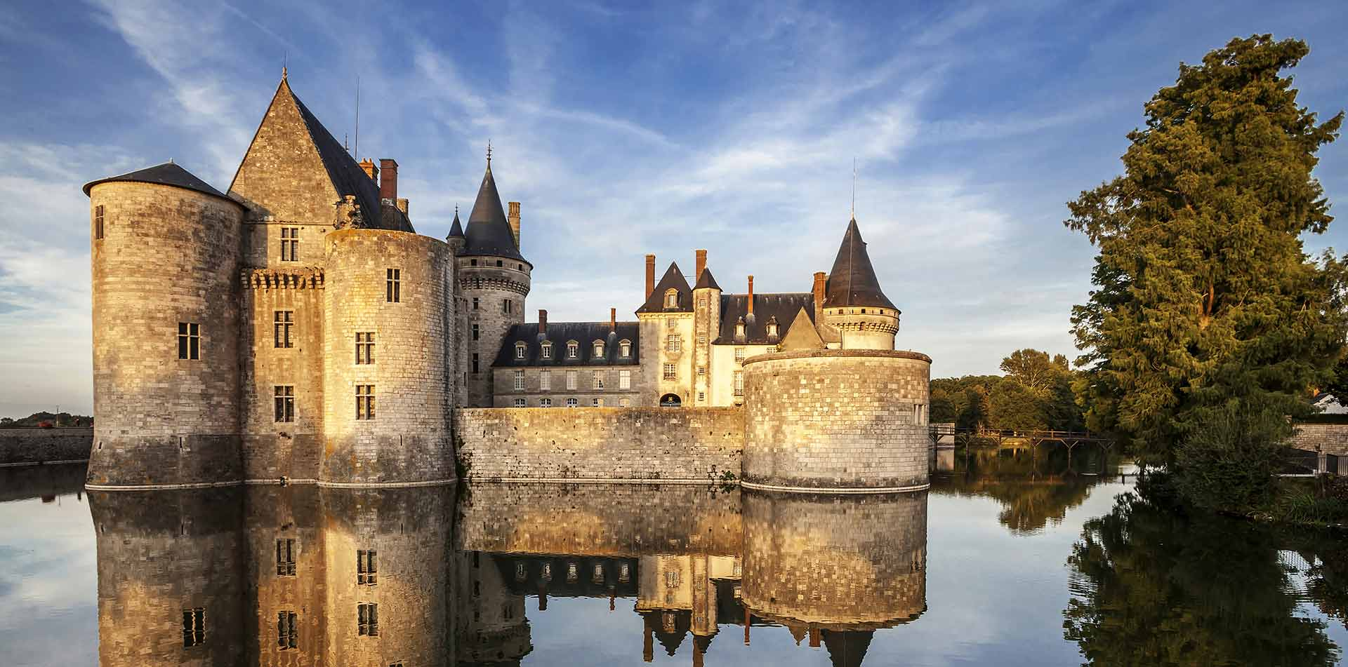 Castle on the water in Loire, France