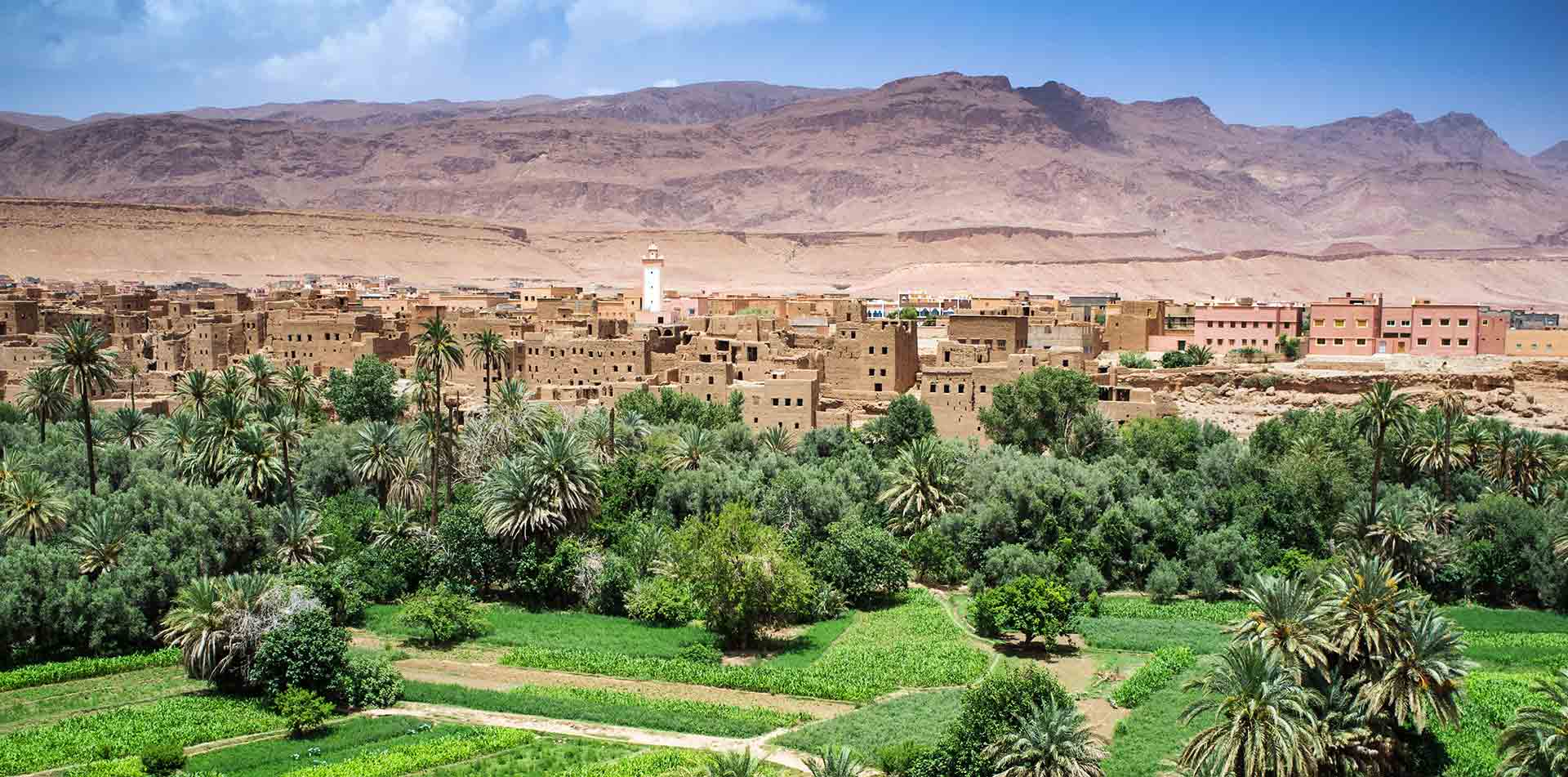 Africa Morocco Tinghir Dades Valley lush green oasis rugged mountains scenic mud-brick town  - luxury vacation destinations