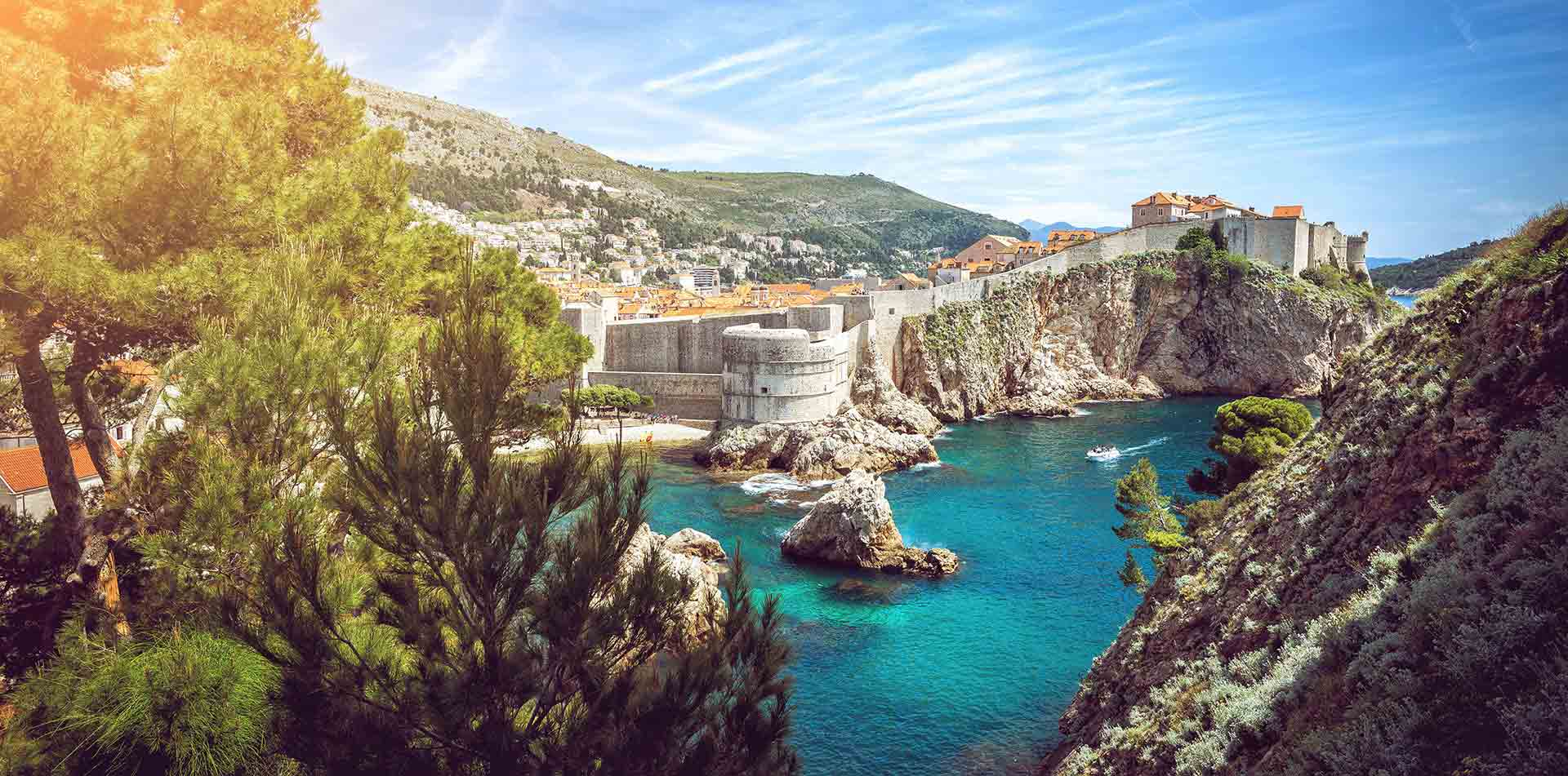 Europe Croatia Dubrovnik scenic rocky cliff beautiful Adriatic sea old historic hillside town - luxury vacation destinations