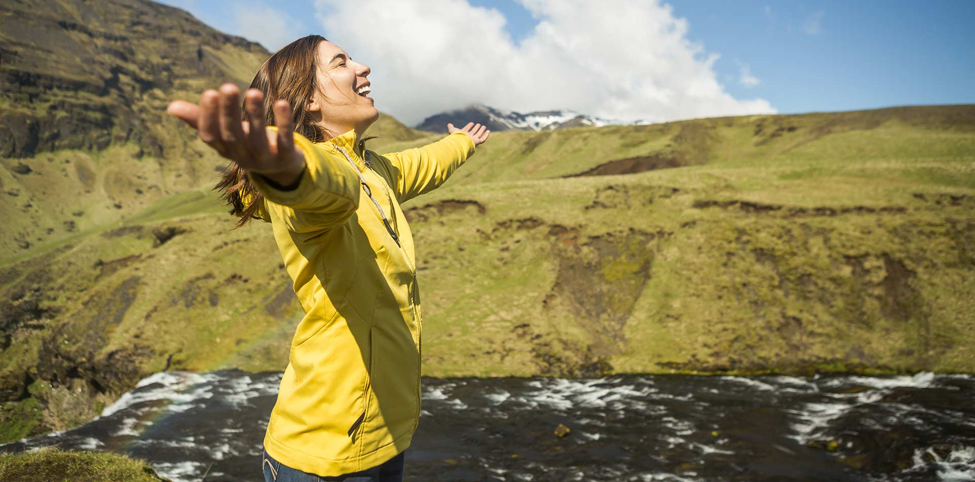 Woman in Yellow Jacket in Iceland