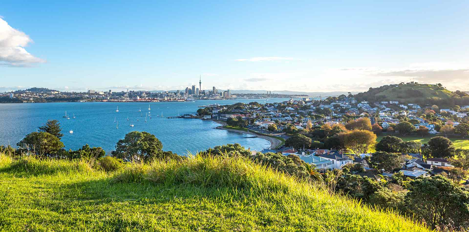 Oceania New Zealand view of the bay and city skyline of Auckland - luxury vacation destinations