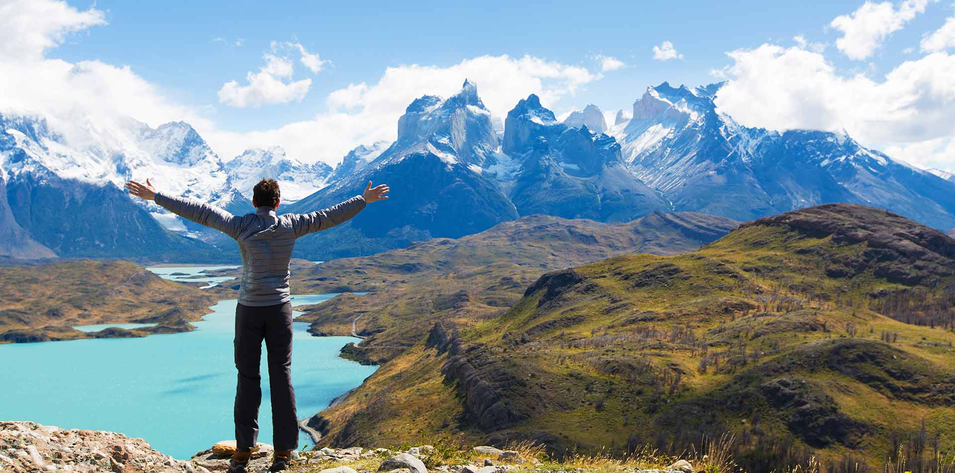 Man overlooking Torres del Paine, Chile