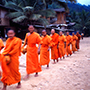 Asia Laos Luang Prabang Buddhist monks in bright orange participating in alms giving ceremony - luxury vacation destinations