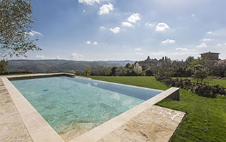 Europe Italy Florence Tuscany Villa le Barone infinity heated salted pool wonderful view - luxury vacation destinations