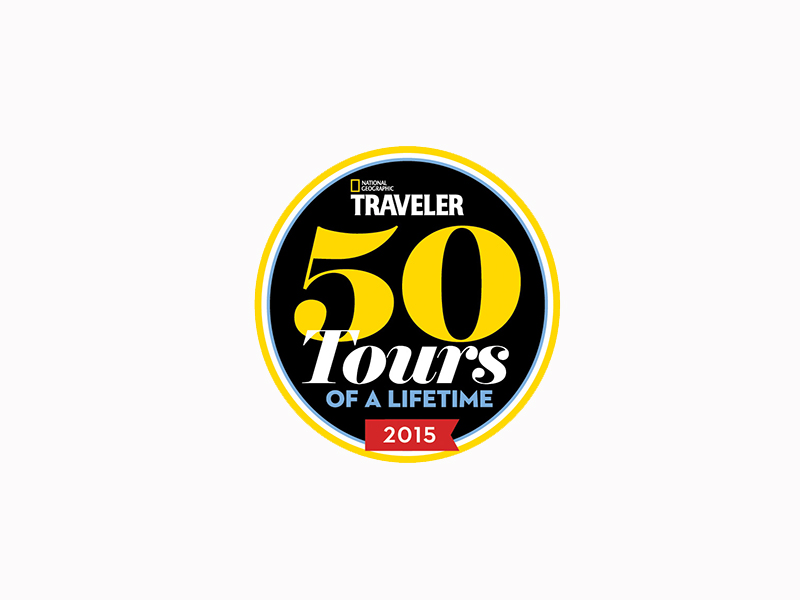 National Geographic Traveler 50 Tours of a Lifetime 2015 colorful logo - luxury vacation destinations