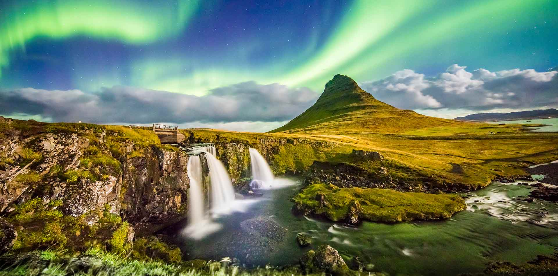 Europe Iceland Snaefellsnesnes waterfall with Kirkjufell Mountain northern lights aurora - luxury vacation destinations