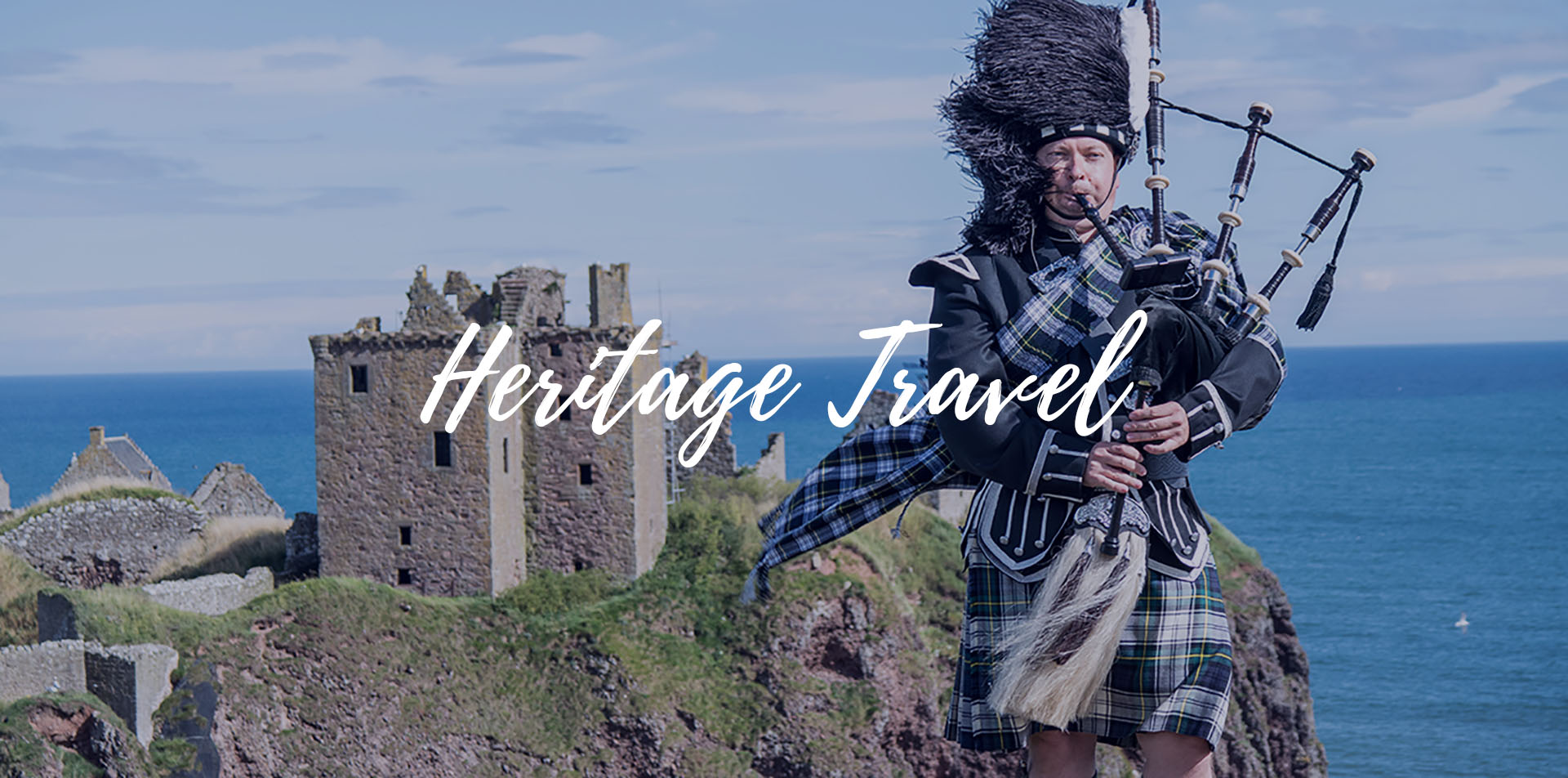 Europe UK Scotland historic Dunnottar Castle man in kilt playing bagpipes Heritage Travel - luxury vacation destinations